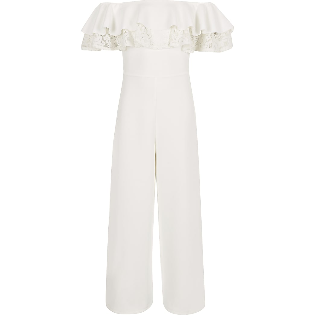 Witte jumpsuit in bardotstijl met kanten bies voor meisjes