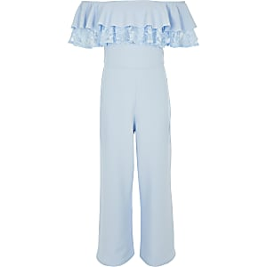 Girls blue bardot lace trim jumpsuit
