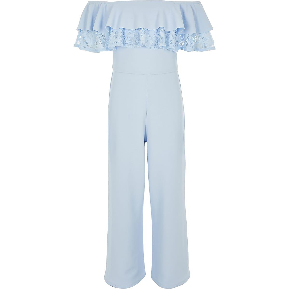 Blauwe jumpsuit in bardotstijl met kanten bies voor meisjes