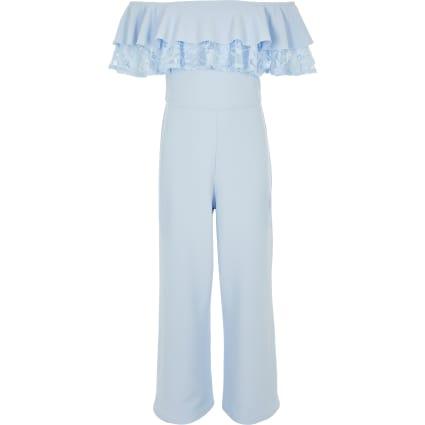 Girls blue bardot lace trim jumpsuit