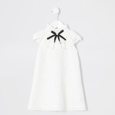 Mini Girls White Lace Frill Dress by River Island