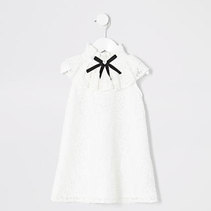 Mini girls white lace frill dress