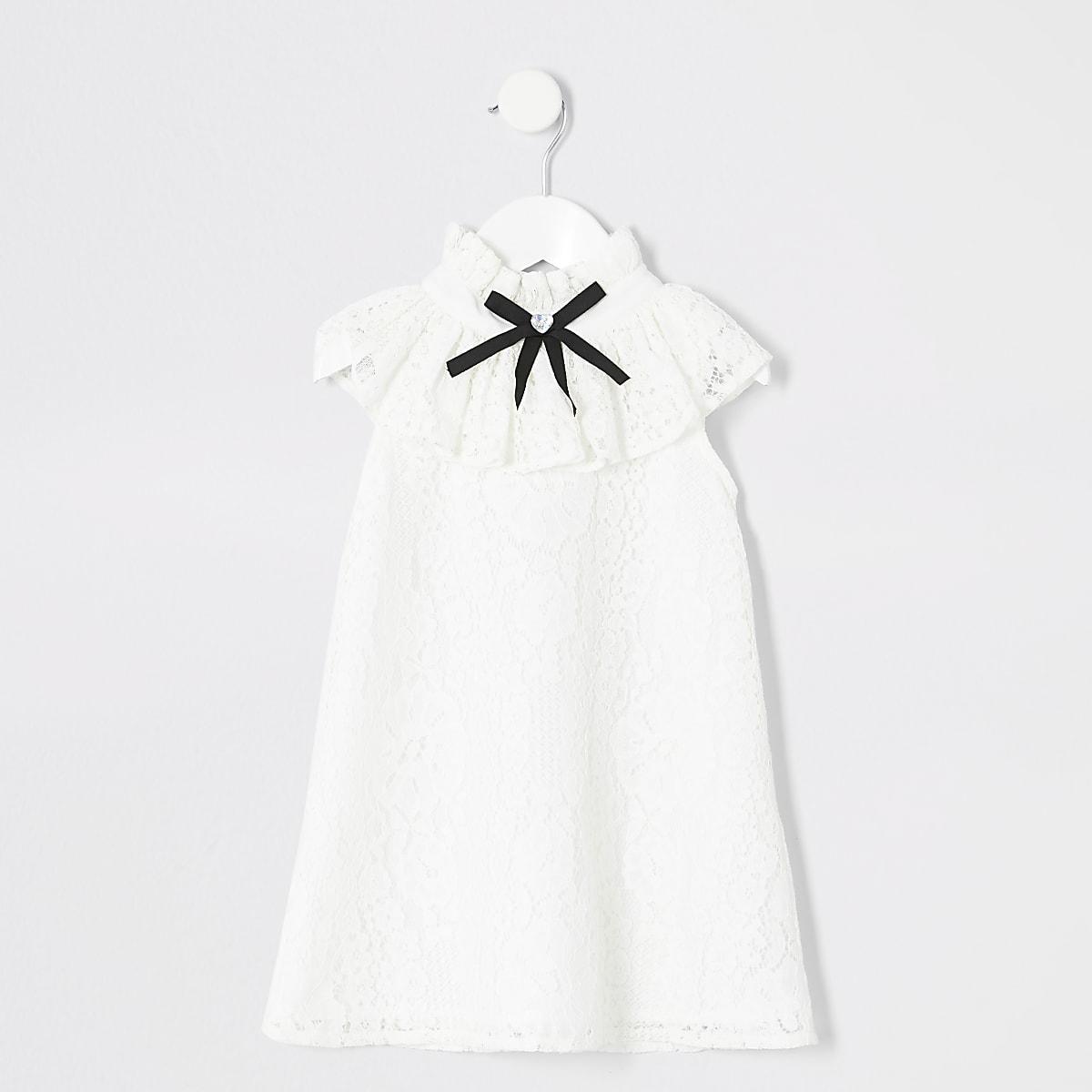 Mini - Witte kanten jurk met ruches voor meisjes