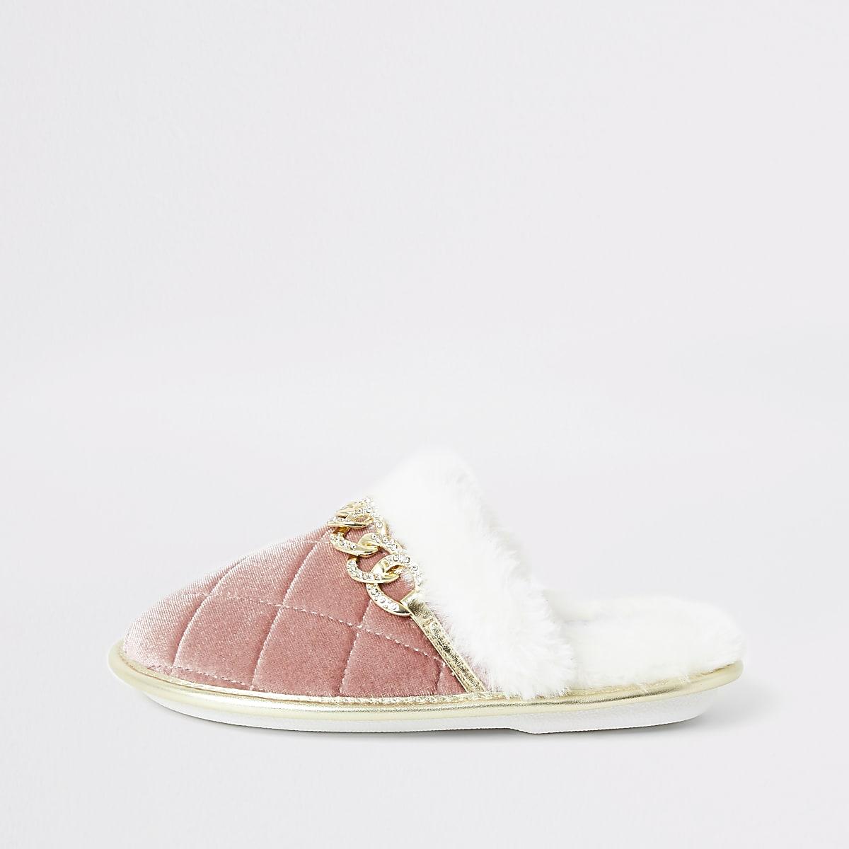 Girls pink diamante chain mule slipper