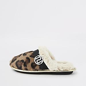 Chaussons mule Mini filleimpression fausse fourrure léopard