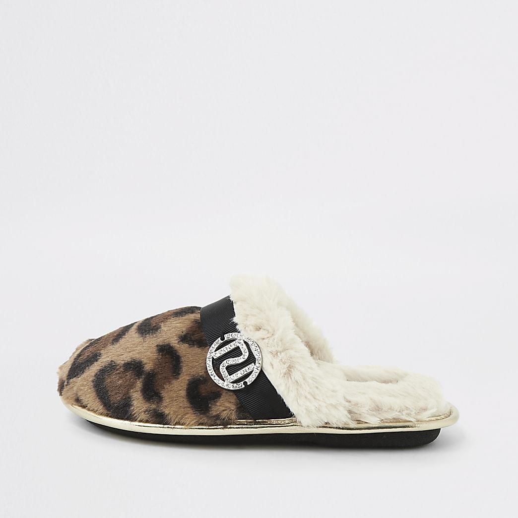 Girls leopard print faux fur mule slippers