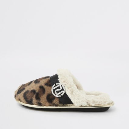 Girls leopard print faux fur mule slippers