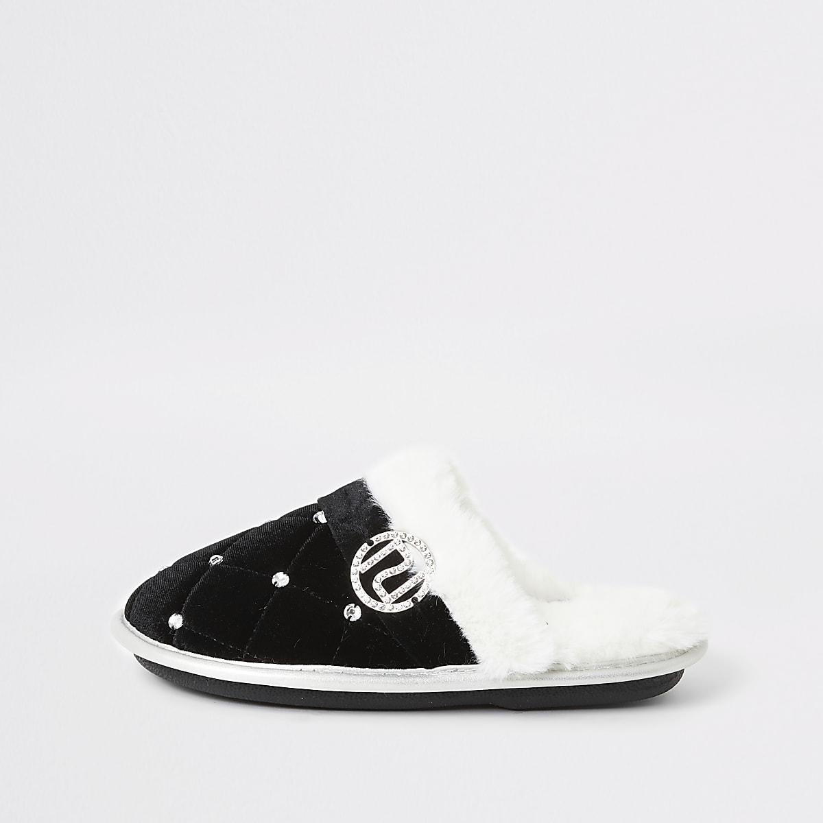 Girls black faux fur diamante mule slipper