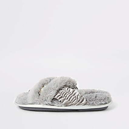 Girls faux fur embellished cross over slipper