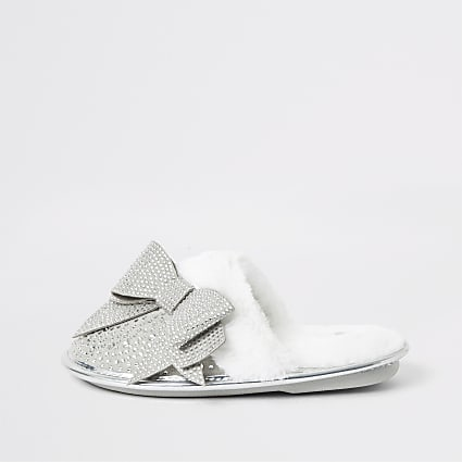 Girls grey diamante bow mule slippers