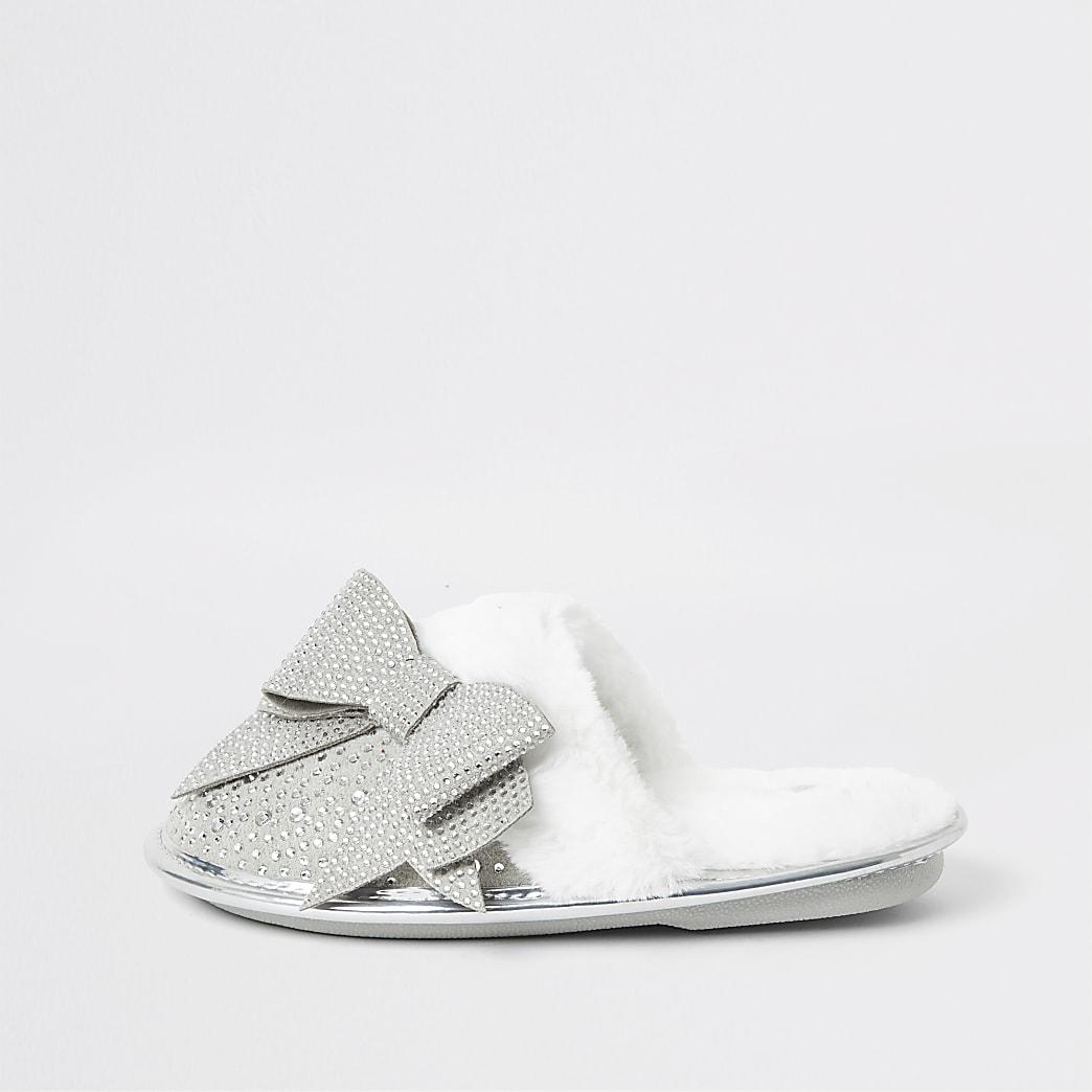 Girls grey diamante bow mule slippers