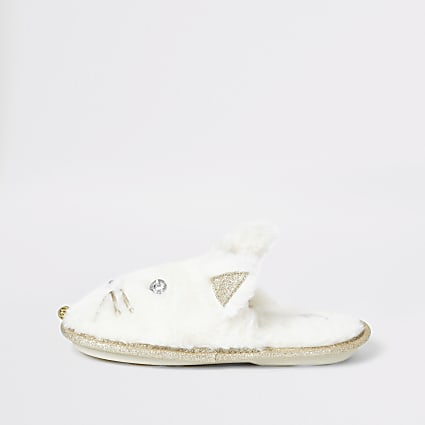 Girls cream cat slippers