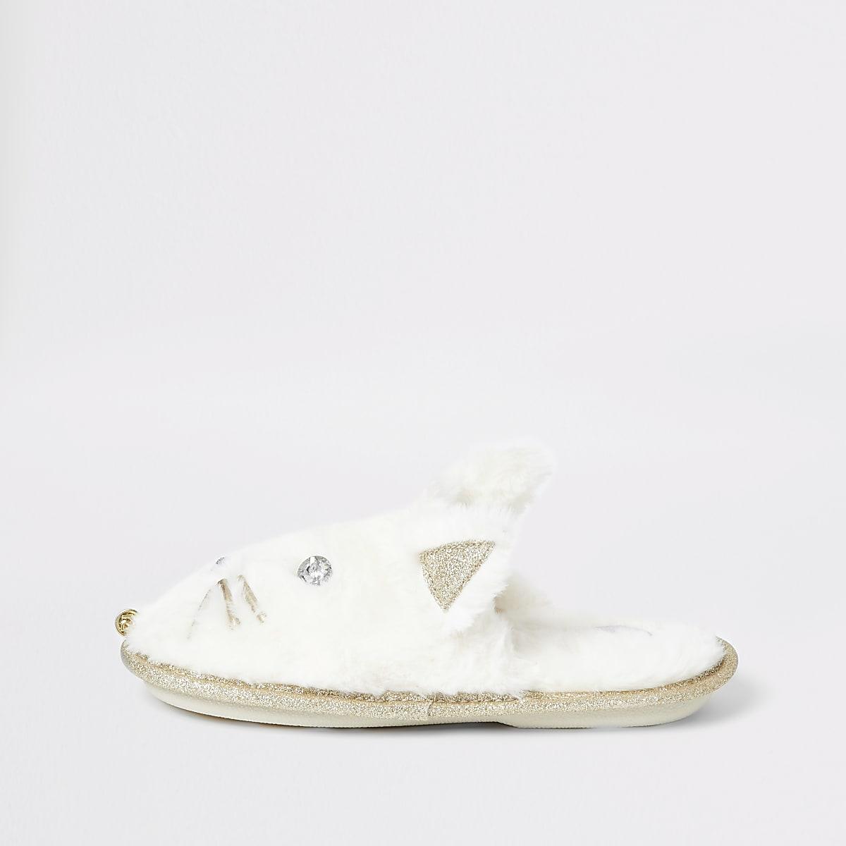 Girls cream cat slippers
