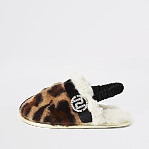 Mini - Bruine pantoffels van imitatiebont met luipaardprint voor meisjes