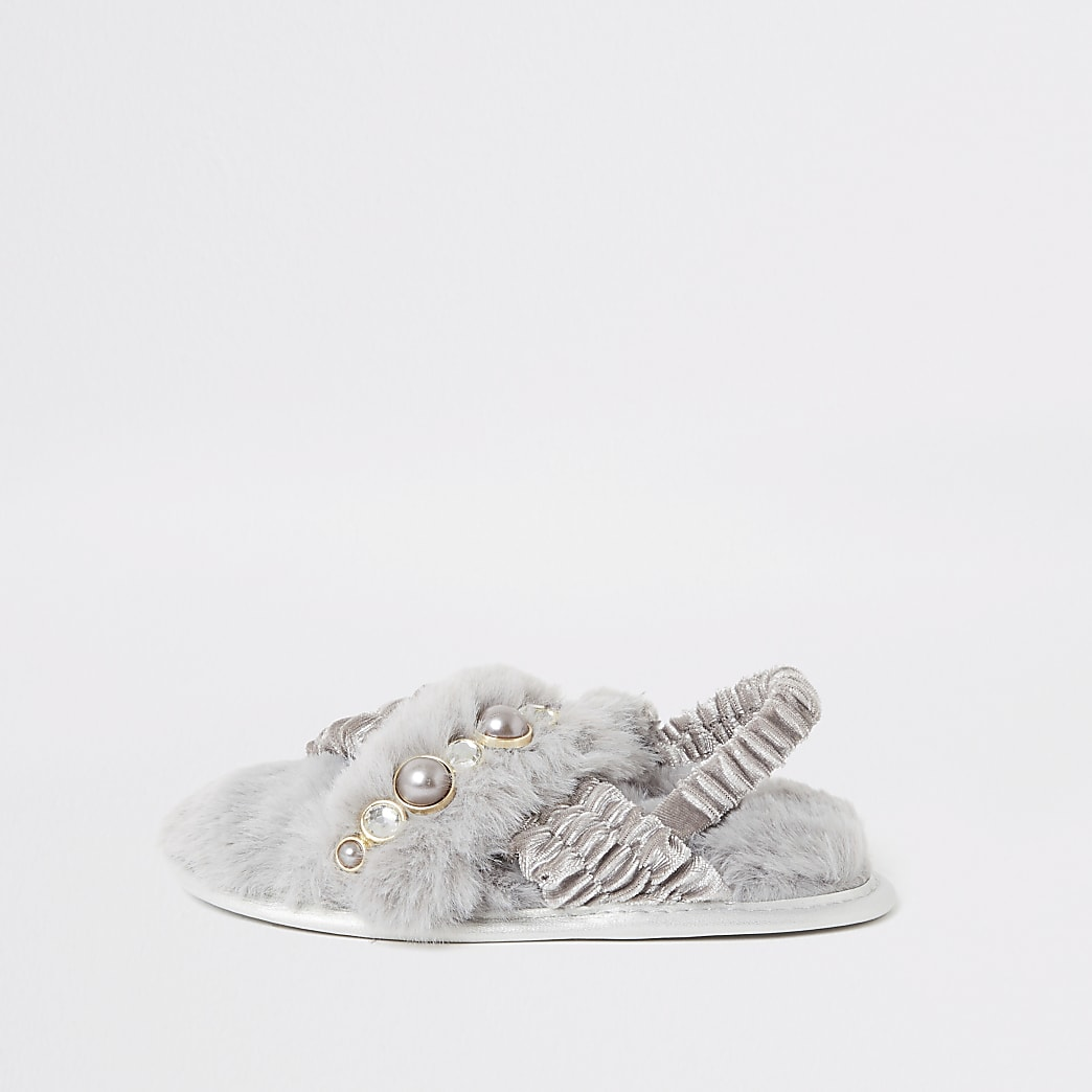 Mini girls grey crossover faux fur slippers