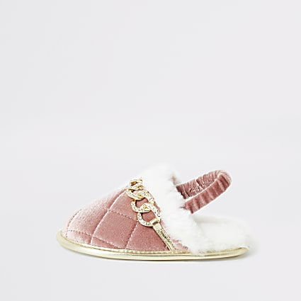 Mini girls quilted diamante chain slippers