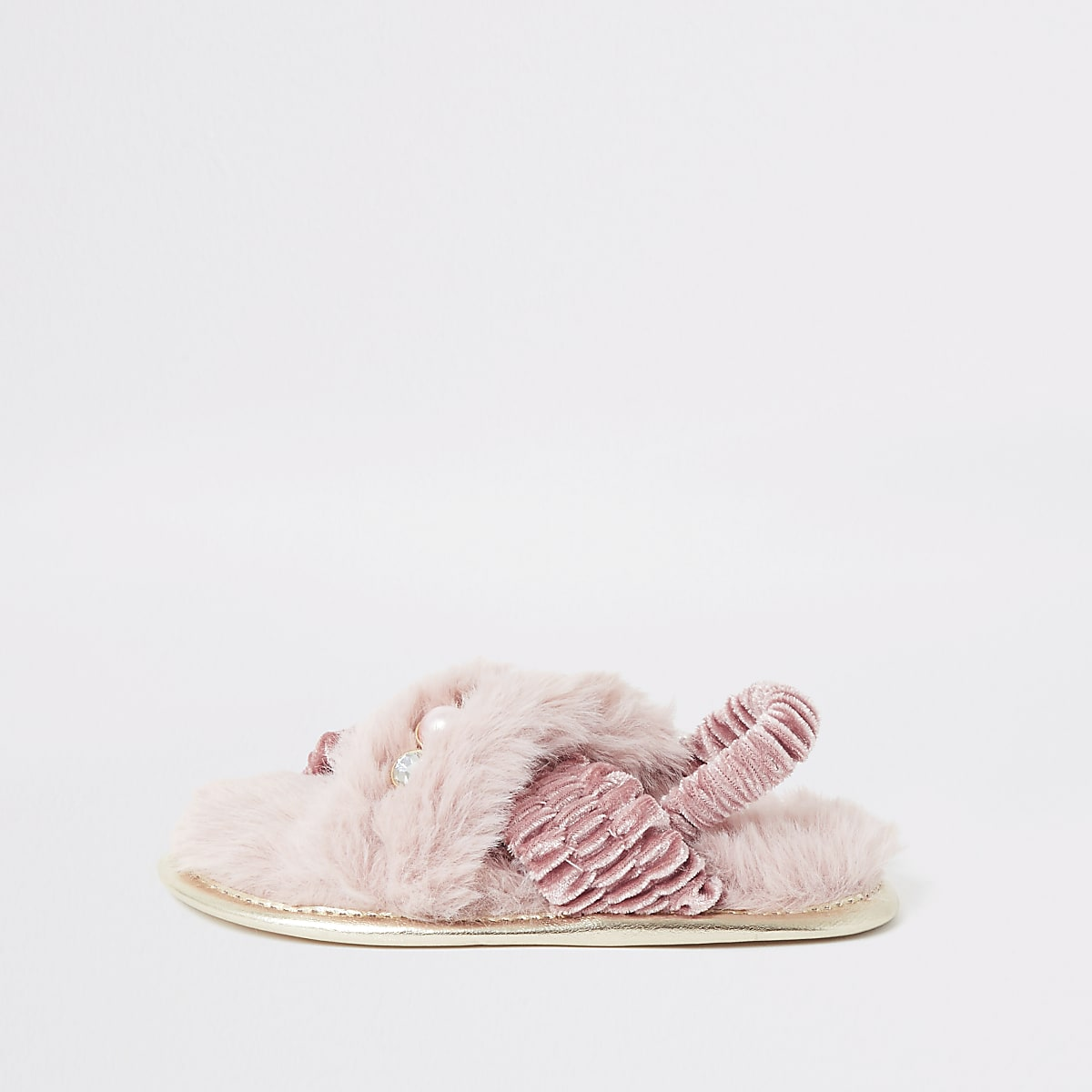 Mini girls pink crossover faux fur slippers