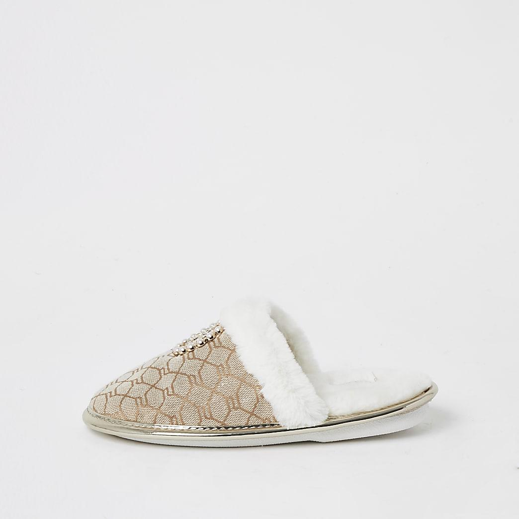Girls brown RI monogram pearl mule slippers