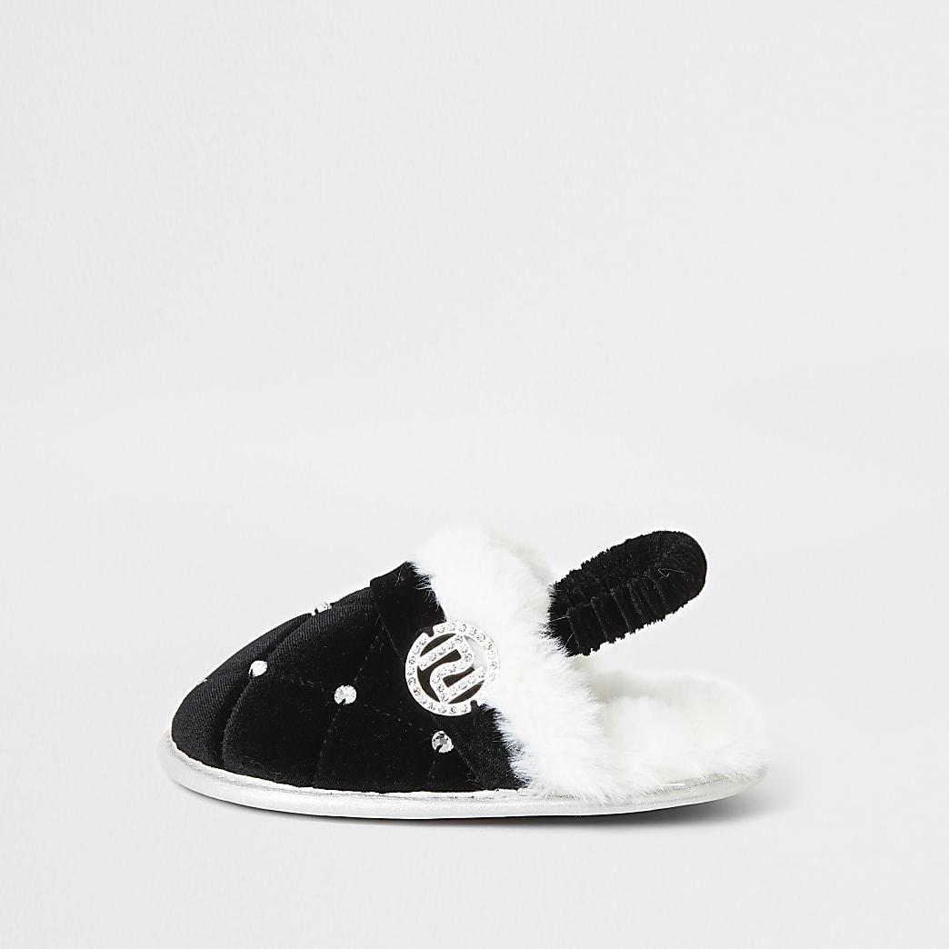 Mini - Zwarte slippers met imitatiebont en siersteentjes voor meisjes
