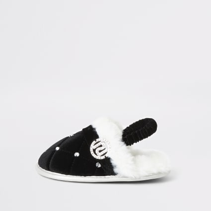 Mini girls black faux fur diamante slippers