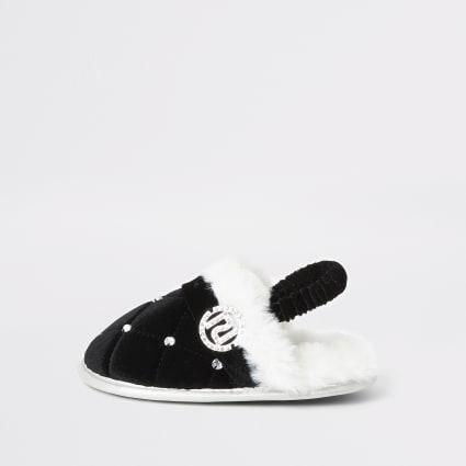 Mini girls black faux fur diamante slippers