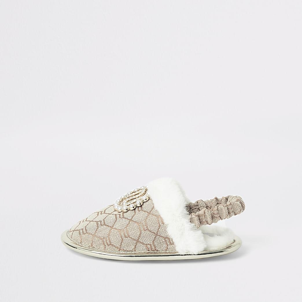 Mini girls brown RI monogram mule slippers