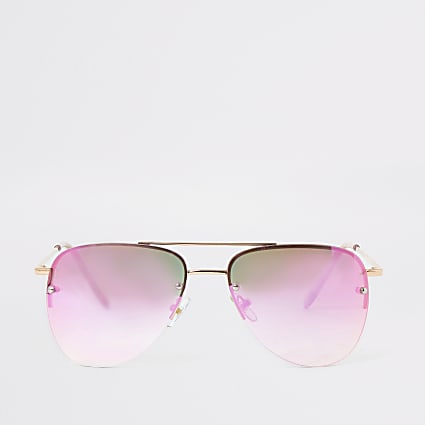 Girls rose gold pink lens aviator sunglasses