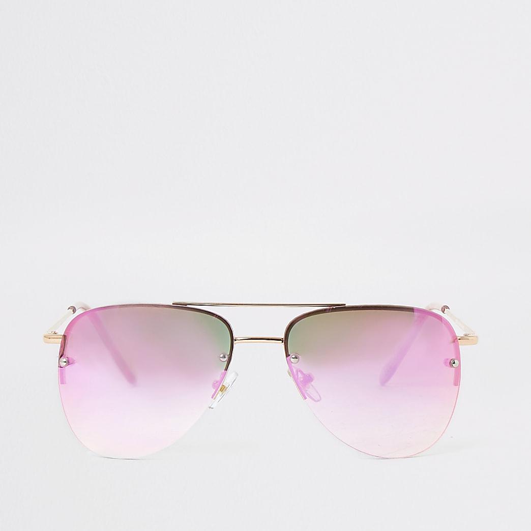 Roségouden pilotenzonnebril met roze glazen voor meisjes