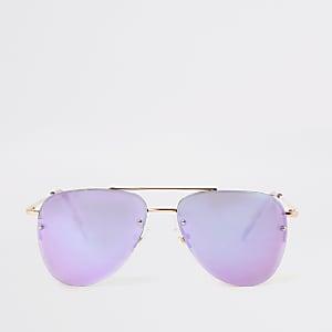 Lunettes de soleil aviateur dorées avec verres lilas