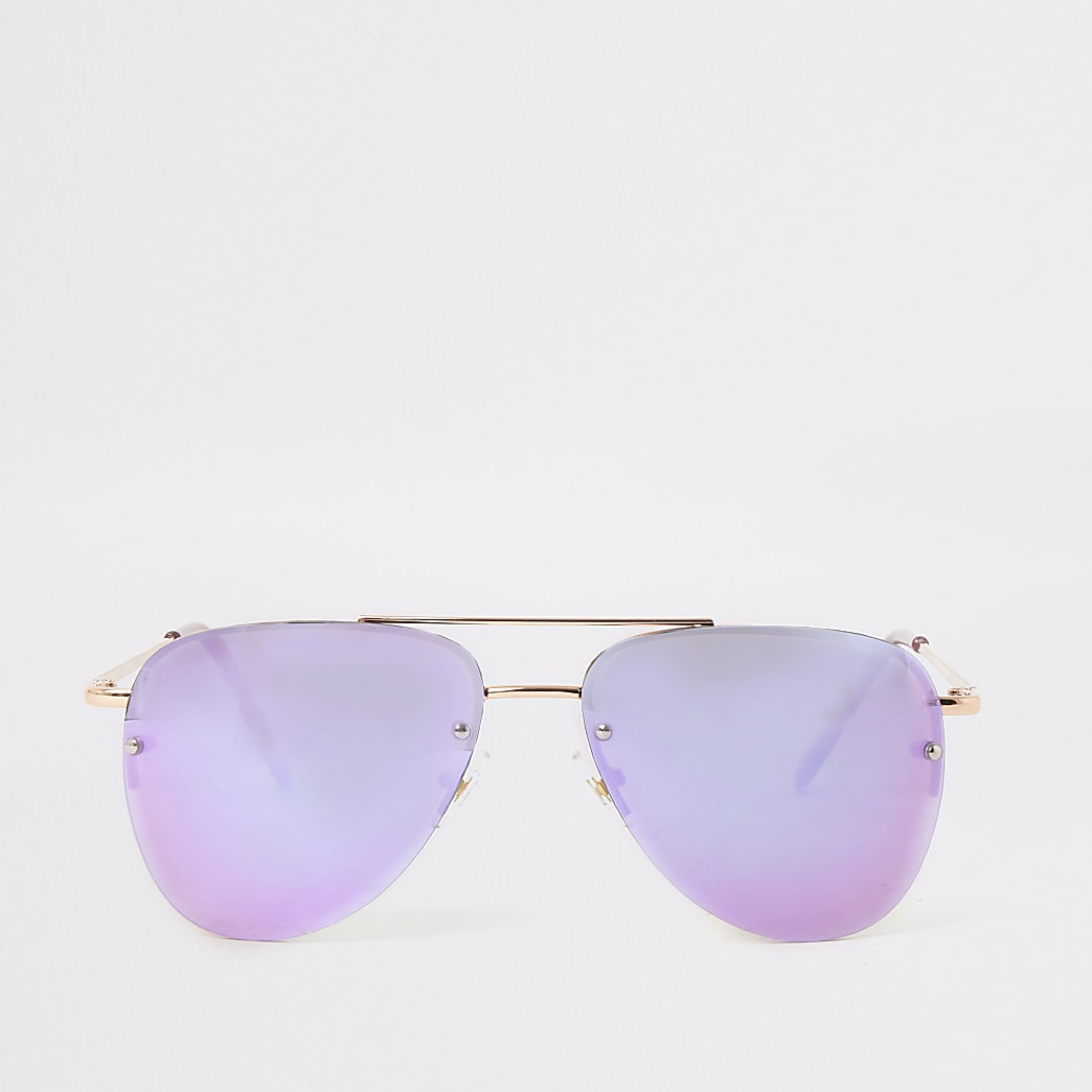 Goudkleurige pilotenzonnebril met lila glazen