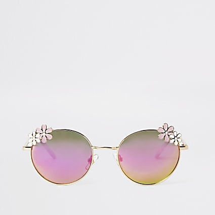 Girls gold tone flower mirror lens sunglasses