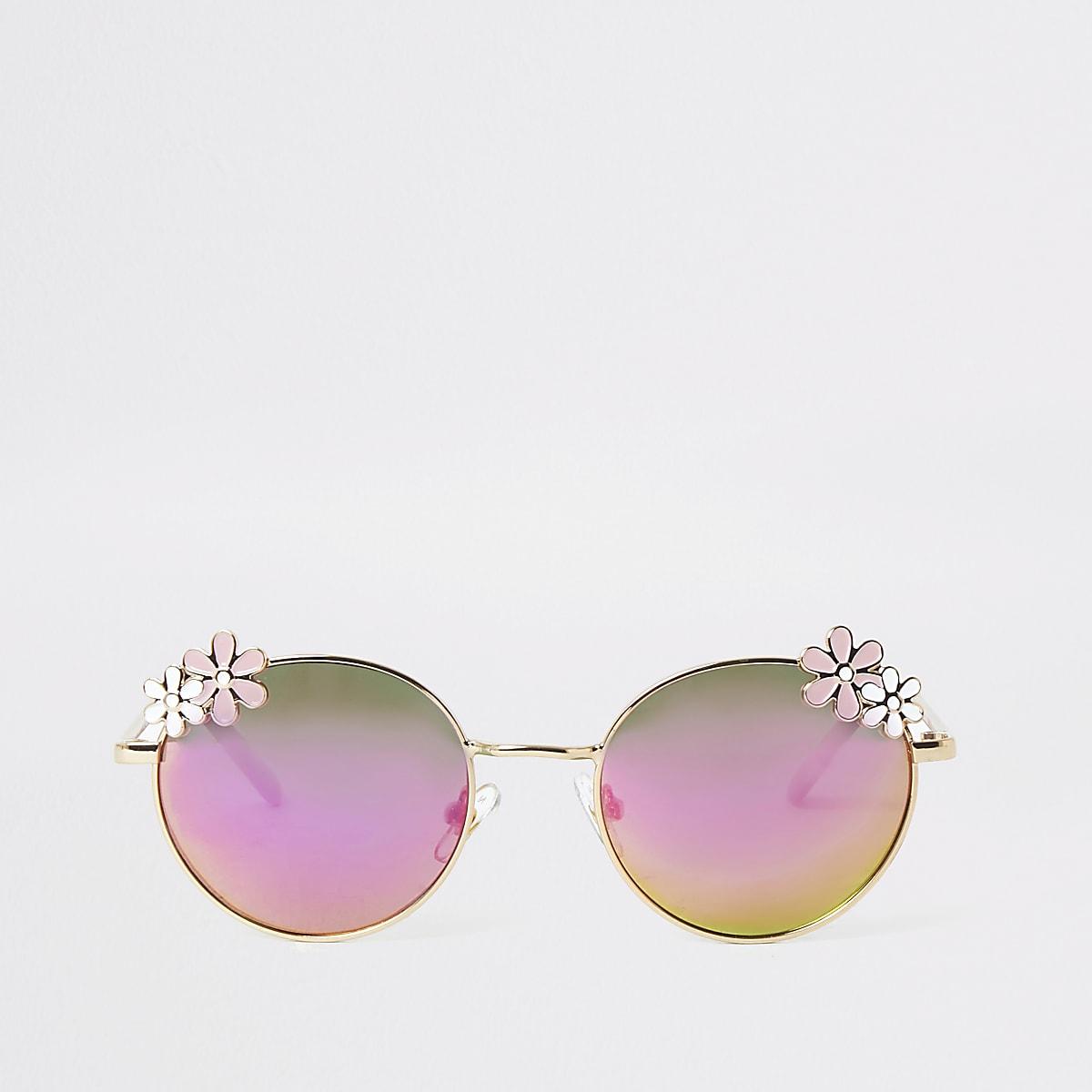 Goudkleurige zonnebril met spiegelglazen en bloemetjes voor meisjes