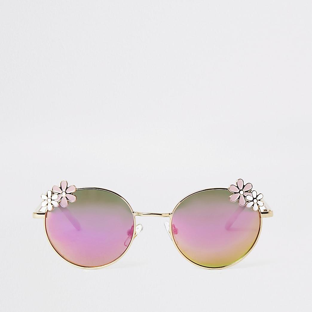 Girls gold tone flower mirror lens sunglasses