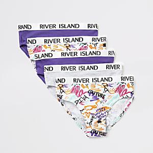 Mini - Set van 5 witte slipjes met krabbelprint voor meisjes