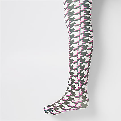 Girls black dogtooth check tights