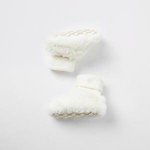 Weiße Sock-Stiefel aus Kunstfell für Babys
