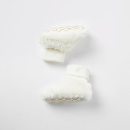 Baby white faux fur sock booties