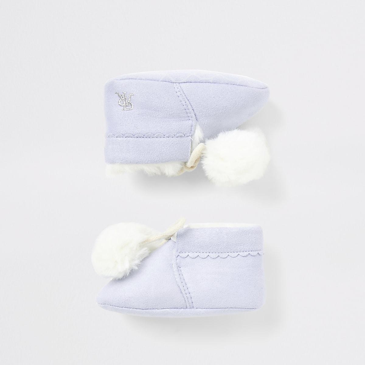 Baby blue faux fur pom pom booties