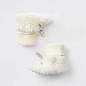 Borg-Stiefelchen im Einhorn-Look in Creme für Babys