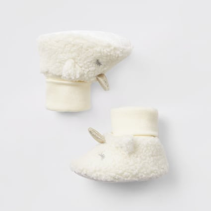 Baby cream unicorn borg booties