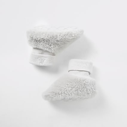 Baby grey faux fur sock booties