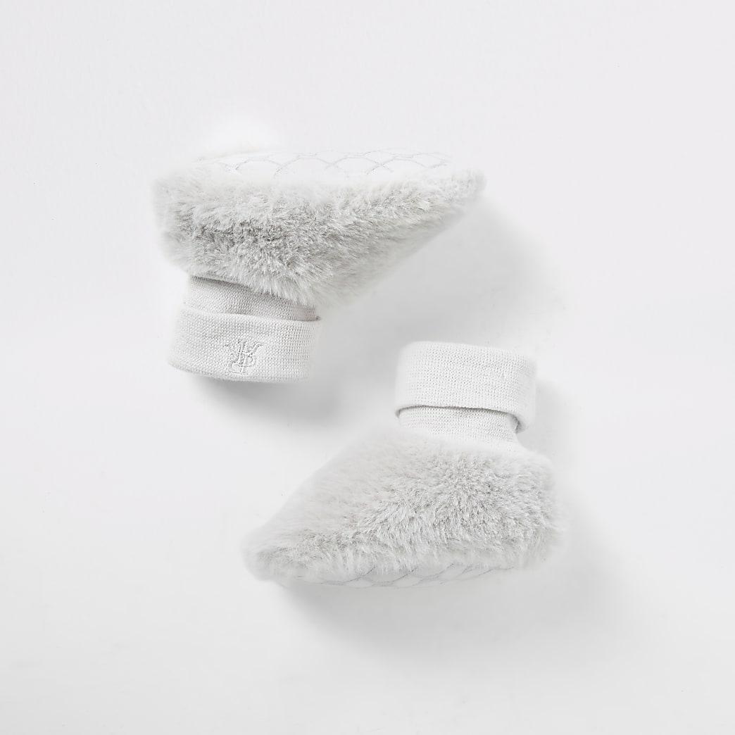 Baby grey faux fur sock booties