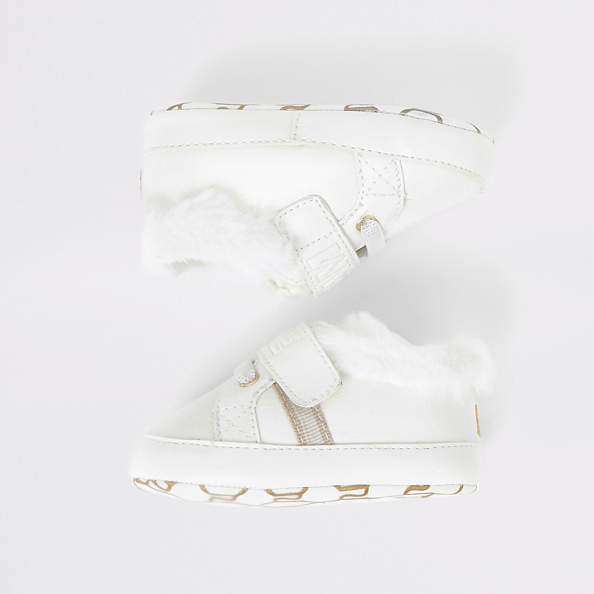 Baby white 'Team cute' embossed trainer