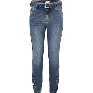 Amelie – Blaue Skinny Jeans mit Schnalle für Mädchen