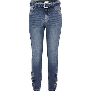 Amelie - Blauwe skinny jeans met gesp voor meisjes