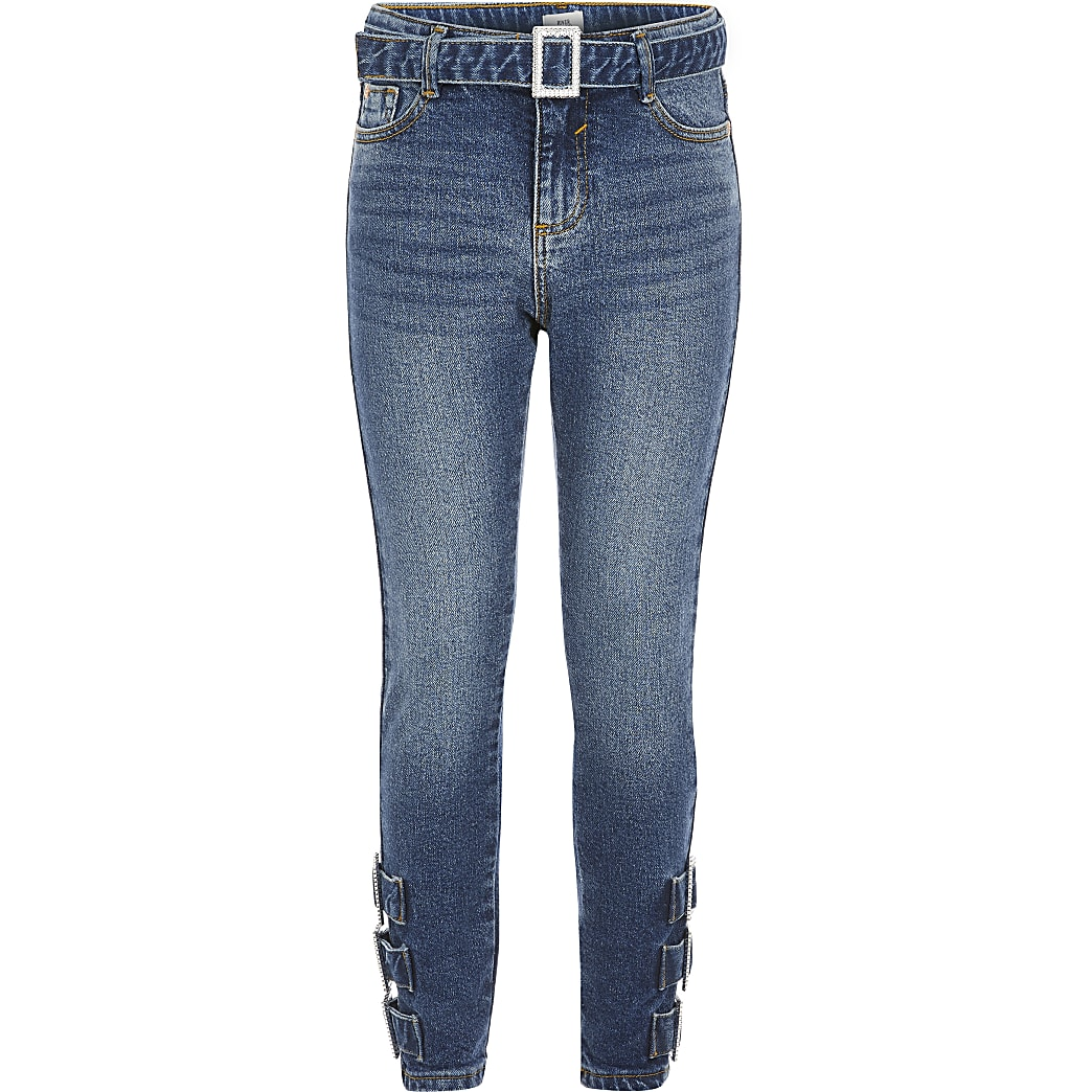 Girls blue buckle Amelie skinny jeans
