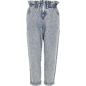 Blaue Paperbag-Jeans mit Nieten für Mädchen