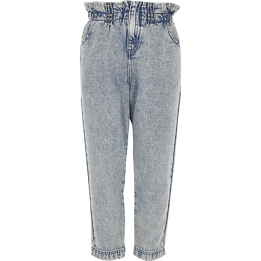 Girls blue studded paperbag jeans