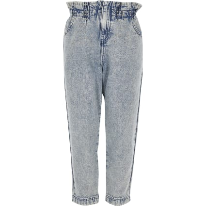 Girls blue studded paperbag jeans