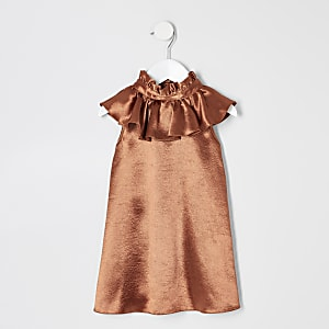 Mini girls rust satin trapeze dress